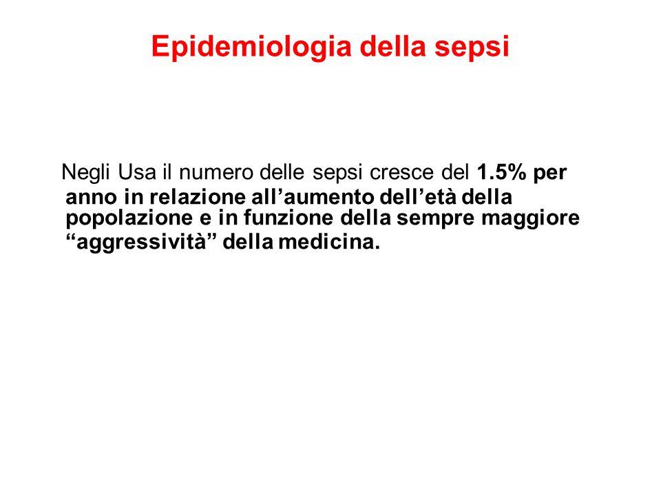 Epidemiologia della sepsi Negli Usa il numero delle sepsi cresce del 1.5% per anno in relazione allaumento delletà della popolazione e in funzione del