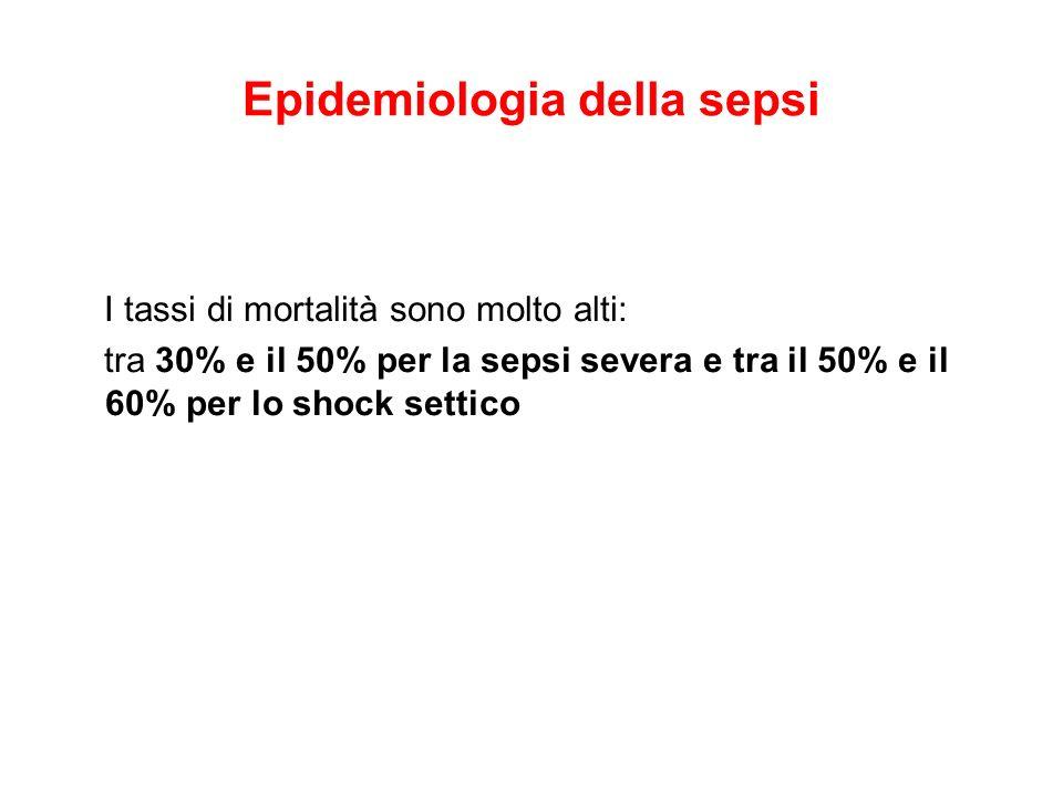 Epidemiologia della sepsi I tassi di mortalità sono molto alti: tra 30% e il 50% per la sepsi severa e tra il 50% e il 60% per lo shock settico