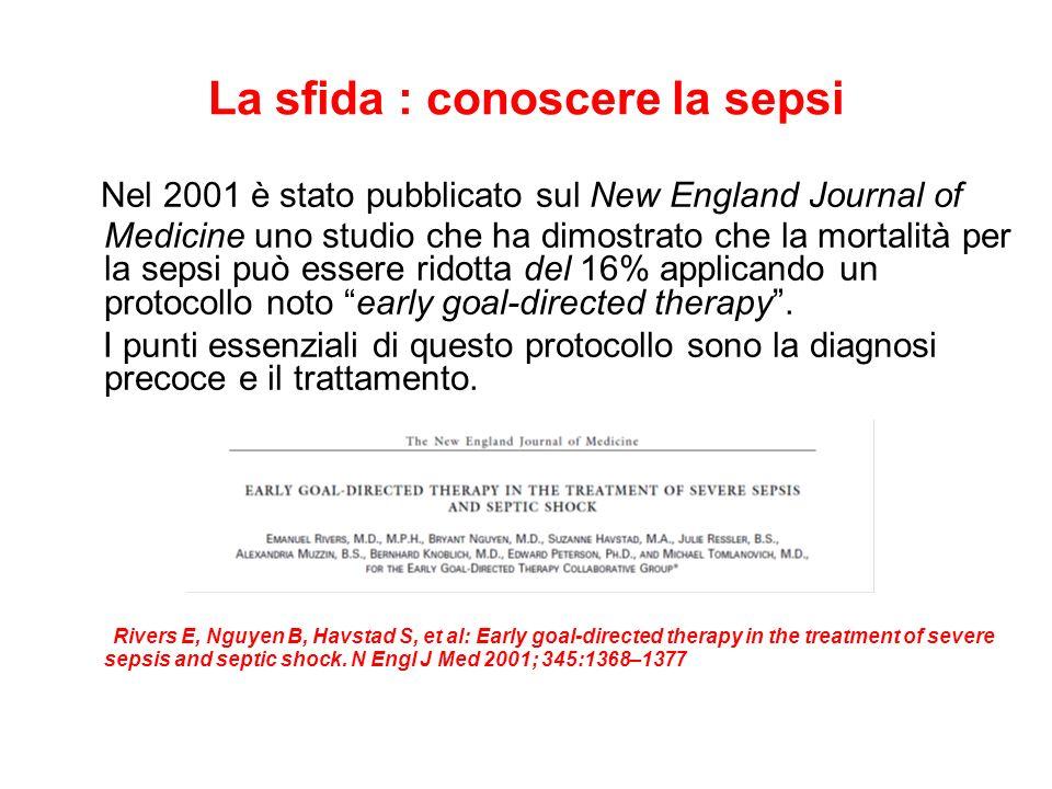 La sfida : conoscere la sepsi Nel 2001 è stato pubblicato sul New England Journal of Medicine uno studio che ha dimostrato che la mortalità per la sep
