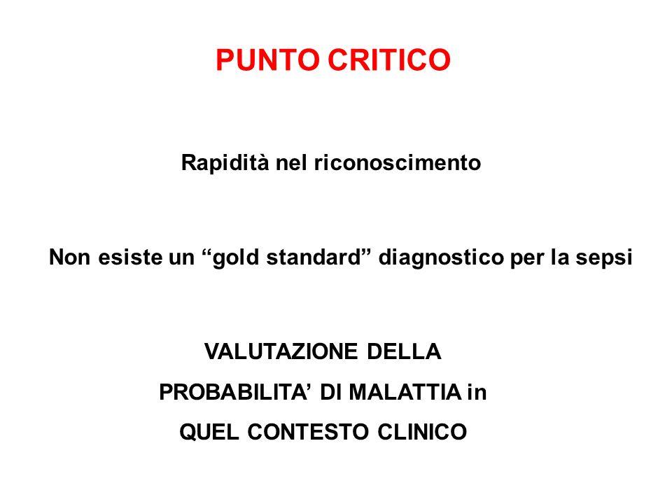 PUNTO CRITICO Rapidità nel riconoscimento Non esiste un gold standard diagnostico per la sepsi VALUTAZIONE DELLA PROBABILITA DI MALATTIA in QUEL CONTE