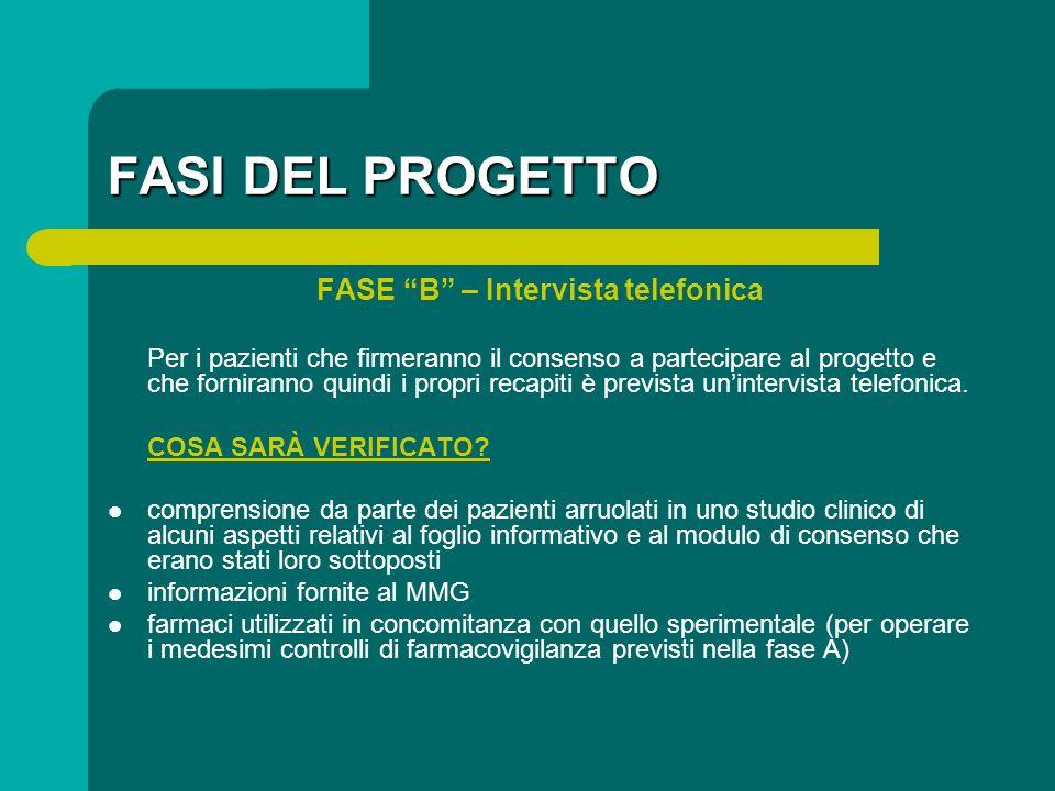 FASI DEL PROGETTO FASE B – Intervista telefonica Per i pazienti che firmeranno il consenso a partecipare al progetto e che forniranno quindi i propri