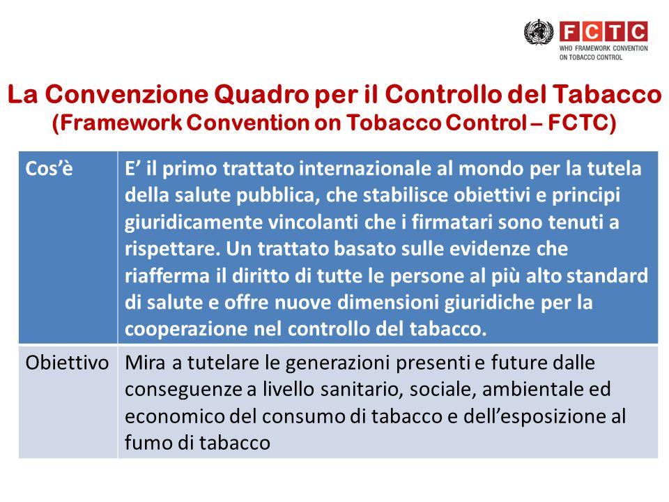La Convenzione Quadro per il Controllo del Tabacco (Framework Convention on Tobacco Control – FCTC) CosèE il primo trattato internazionale al mondo pe