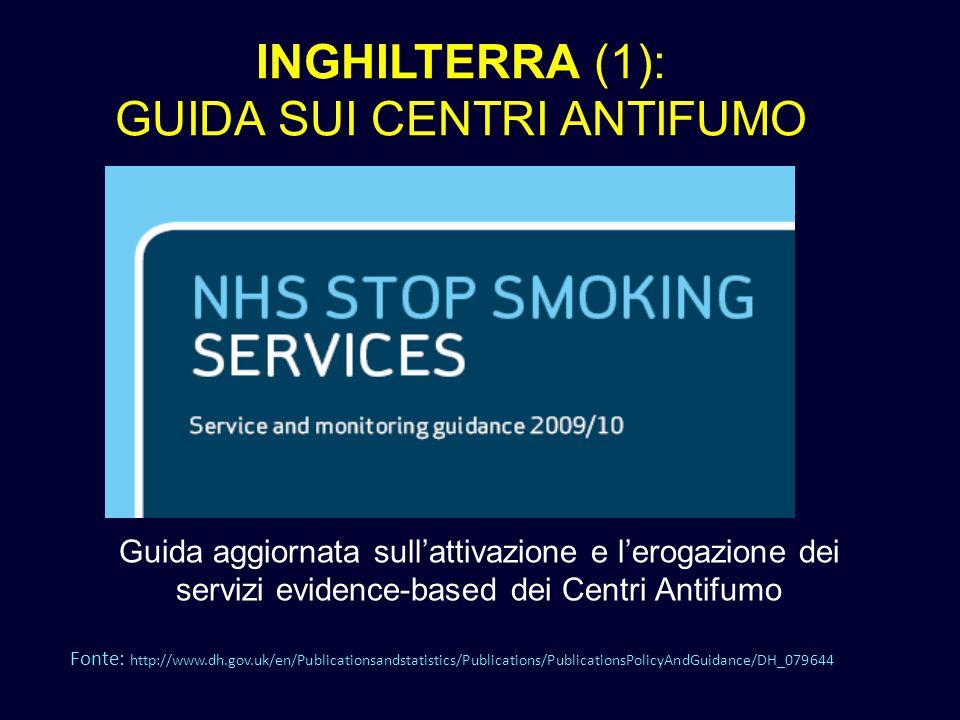 INGHILTERRA (1): GUIDA SUI CENTRI ANTIFUMO Guida aggiornata sullattivazione e lerogazione dei servizi evidence-based dei Centri Antifumo Fonte: http:/