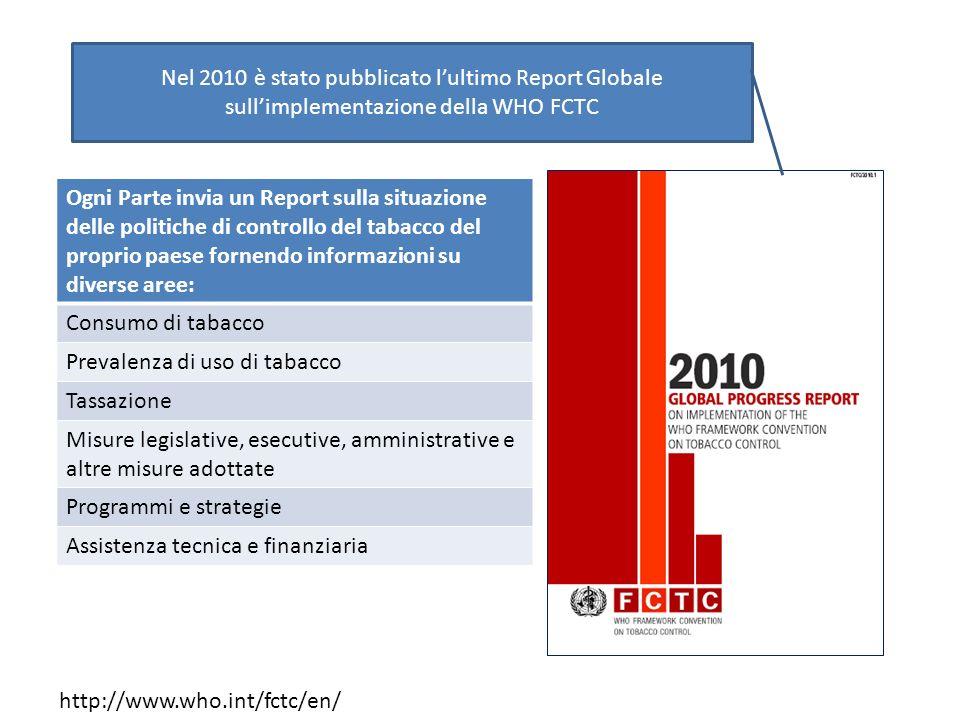 http://www.who.int/fctc/en/ Nel 2010 è stato pubblicato lultimo Report Globale sullimplementazione della WHO FCTC Ogni Parte invia un Report sulla sit