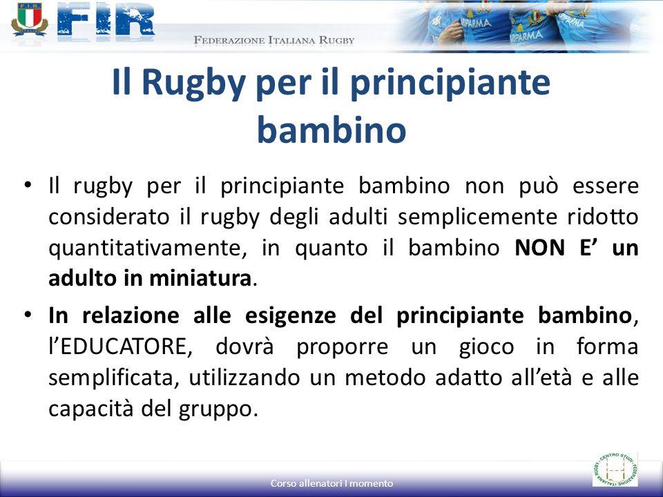 Il Rugby per il principiante bambino Il rugby per il principiante bambino non può essere considerato il rugby degli adulti semplicemente ridotto quant