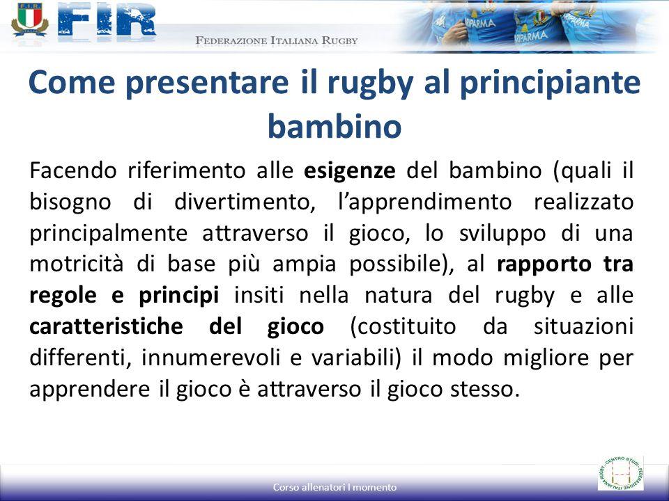 Come presentare il rugby al principiante bambino Facendo riferimento alle esigenze del bambino (quali il bisogno di divertimento, lapprendimento reali