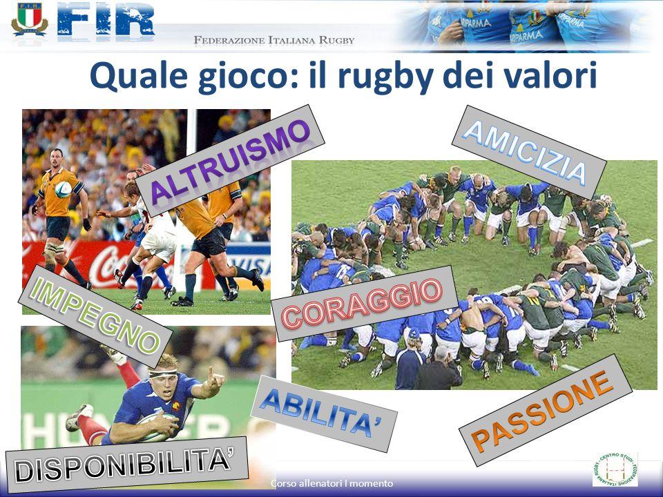 Quale gioco: il rugby dei valori Corso allenatori I momento