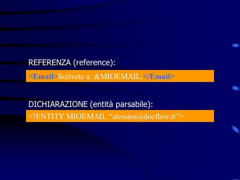 Scrivete a: &MIOEMAIL; REFERENZA (reference): DICHIARAZIONE (entità parsabile):