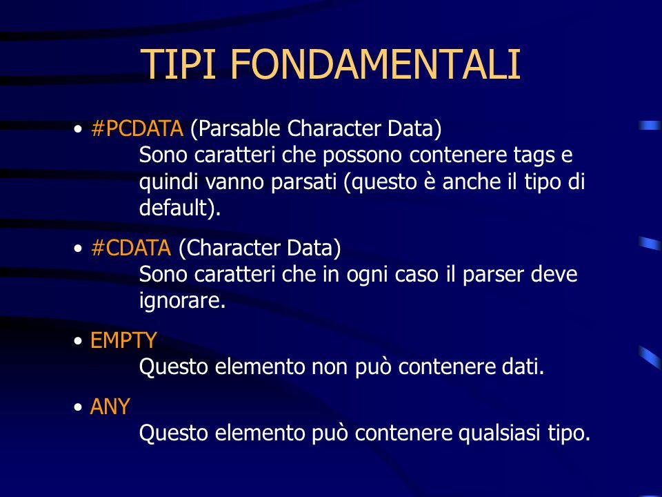 TIPI FONDAMENTALI #PCDATA (Parsable Character Data) Sono caratteri che possono contenere tags e quindi vanno parsati (questo è anche il tipo di default).