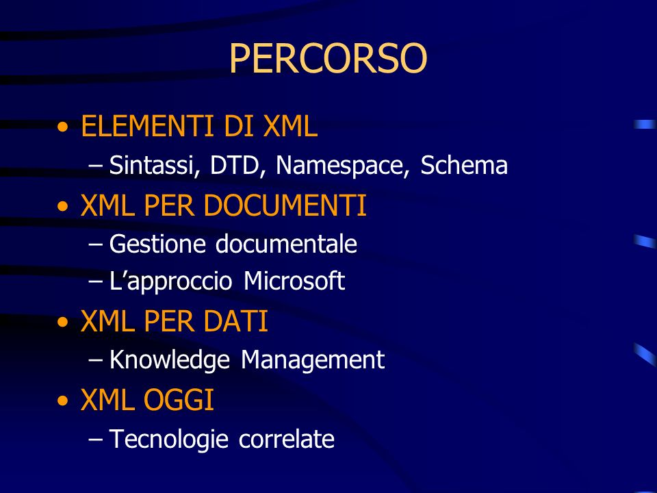 PERCORSO ELEMENTI DI XML –Sintassi, DTD, Namespace, Schema XML PER DOCUMENTI –Gestione documentale –Lapproccio Microsoft XML PER DATI –Knowledge Management XML OGGI –Tecnologie correlate