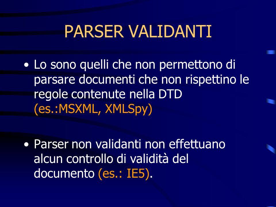PARSER VALIDANTI Lo sono quelli che non permettono di parsare documenti che non rispettino le regole contenute nella DTD (es.:MSXML, XMLSpy) Parser no