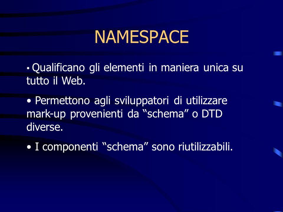 NAMESPACE Qualificano gli elementi in maniera unica su tutto il Web. Permettono agli sviluppatori di utilizzare mark-up provenienti da schema o DTD di