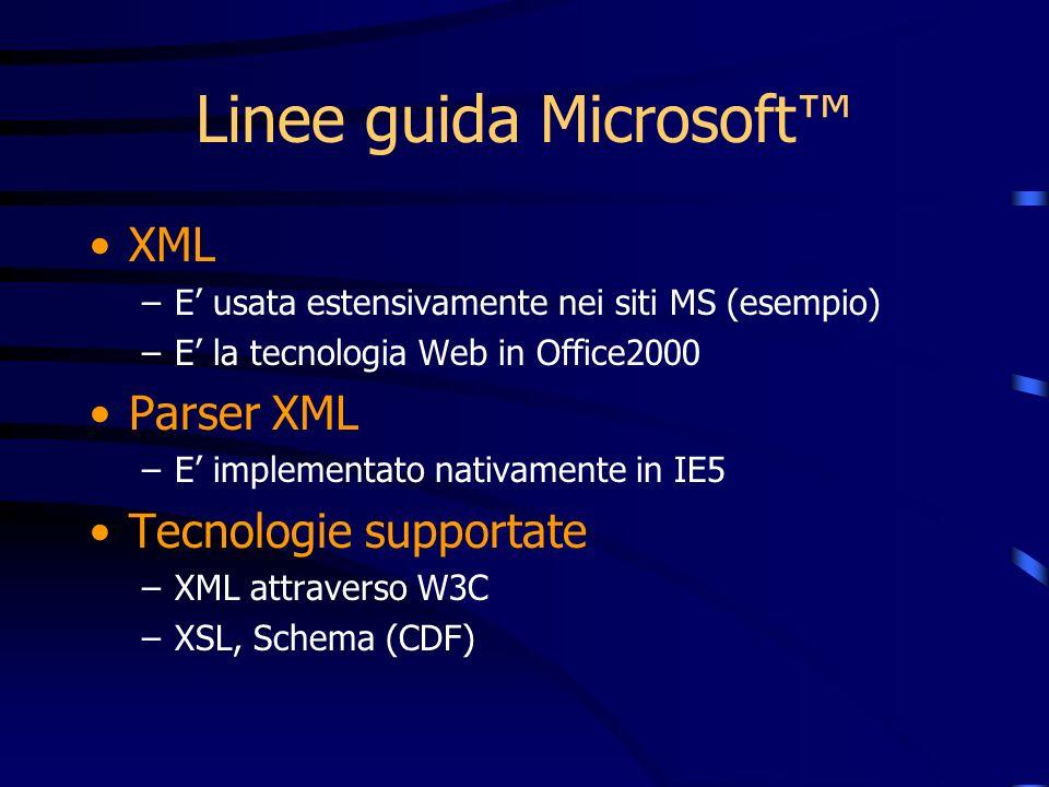 Linee guida Microsoft XML –E usata estensivamente nei siti MS (esempio) –E la tecnologia Web in Office2000 Parser XML –E implementato nativamente in IE5 Tecnologie supportate –XML attraverso W3C –XSL, Schema (CDF)