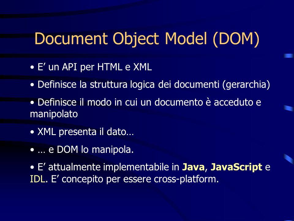 Document Object Model (DOM) E un API per HTML e XML Definisce la struttura logica dei documenti (gerarchia) Definisce il modo in cui un documento è ac