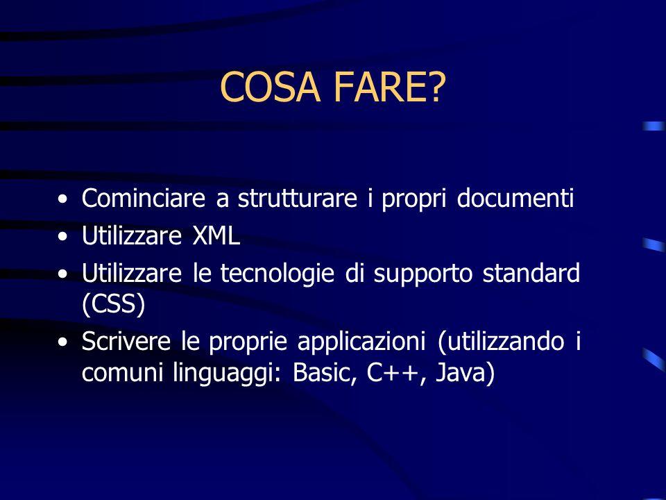 COSA FARE? Cominciare a strutturare i propri documenti Utilizzare XML Utilizzare le tecnologie di supporto standard (CSS) Scrivere le proprie applicaz