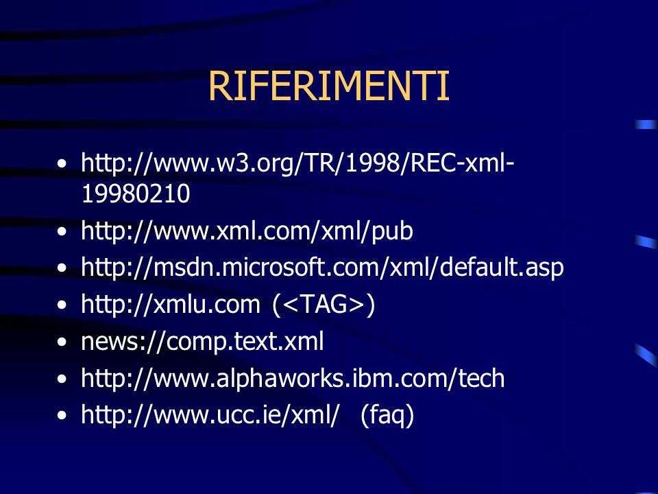 RIFERIMENTI http://www.w3.org/TR/1998/REC-xml- 19980210 http://www.xml.com/xml/pub http://msdn.microsoft.com/xml/default.asp http://xmlu.com ( ) news://comp.text.xml http://www.alphaworks.ibm.com/tech http://www.ucc.ie/xml/ (faq)