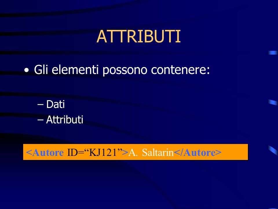ATTRIBUTI Gli elementi possono contenere: –Dati –Attributi A. Saltarin