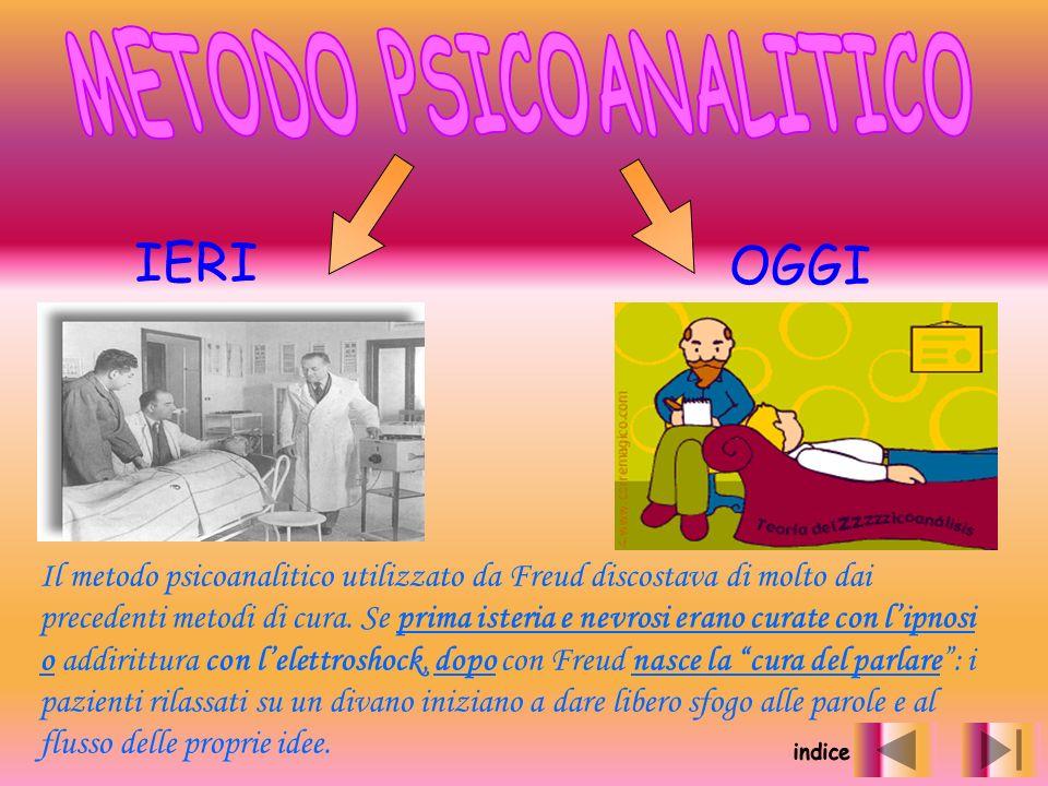 IERI OGGI Il metodo psicoanalitico utilizzato da Freud discostava di molto dai precedenti metodi di cura. Se prima isteria e nevrosi erano curate con