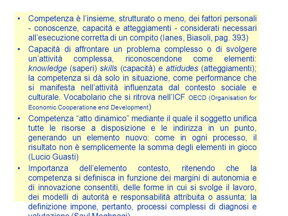 Competenza è linsieme, strutturato o meno, dei fattori personali - conoscenze, capacità e atteggiamenti - considerati necessari allesecuzione corretta