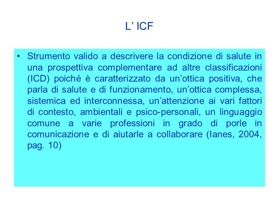 L ICF Strumento valido a descrivere la condizione di salute in una prospettiva complementare ad altre classificazioni (ICD) poiché è caratterizzato da