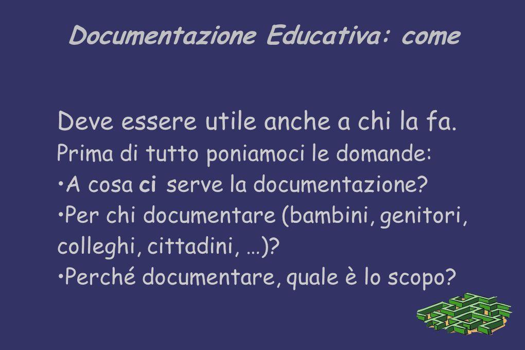 Documentazione Educativa: come Deve essere utile anche a chi la fa. Prima di tutto poniamoci le domande: A cosa ci serve la documentazione? Per chi do