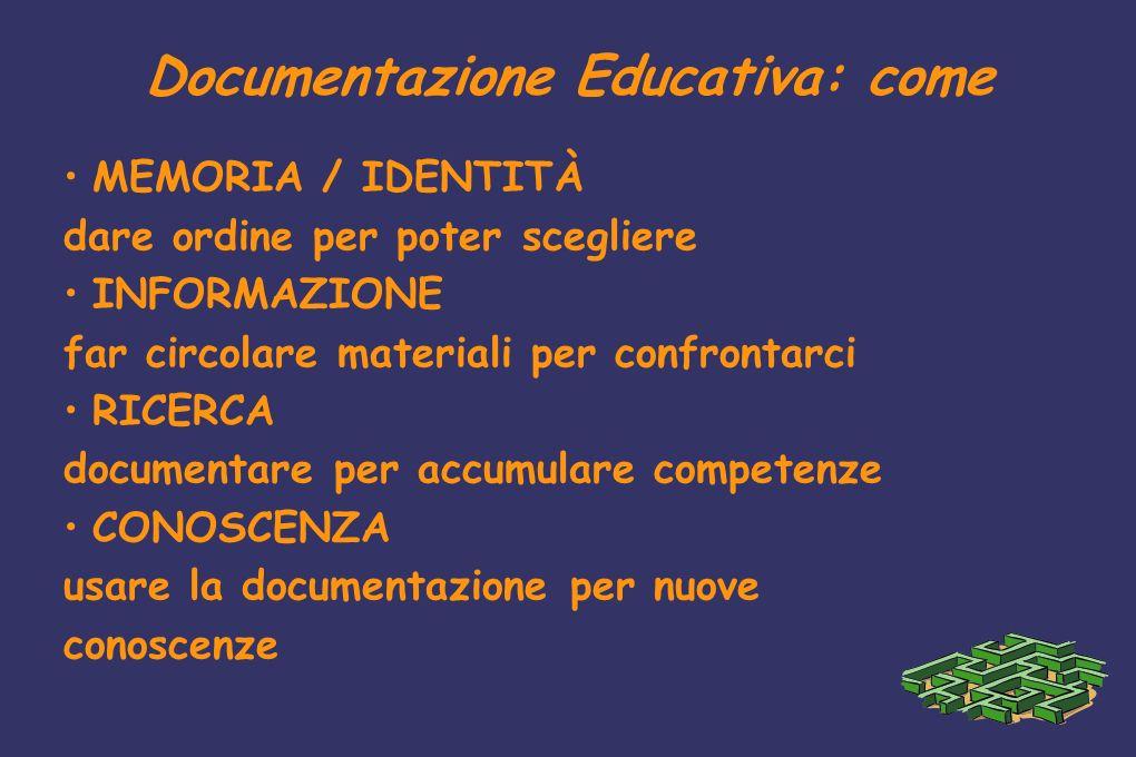 Documentazione Educativa: come MEMORIA / IDENTITÀ dare ordine per poter scegliere INFORMAZIONE far circolare materiali per confrontarci RICERCA docume