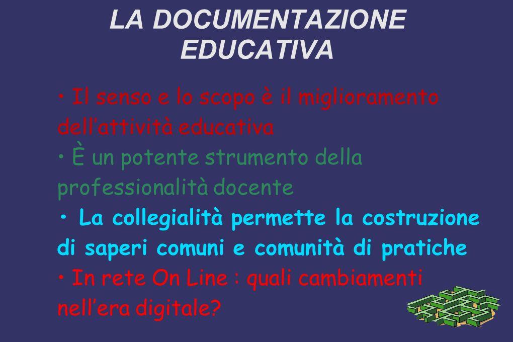 LA DOCUMENTAZIONE EDUCATIVA Il senso e lo scopo è il miglioramento dellattività educativa È un potente strumento della professionalità docente La coll
