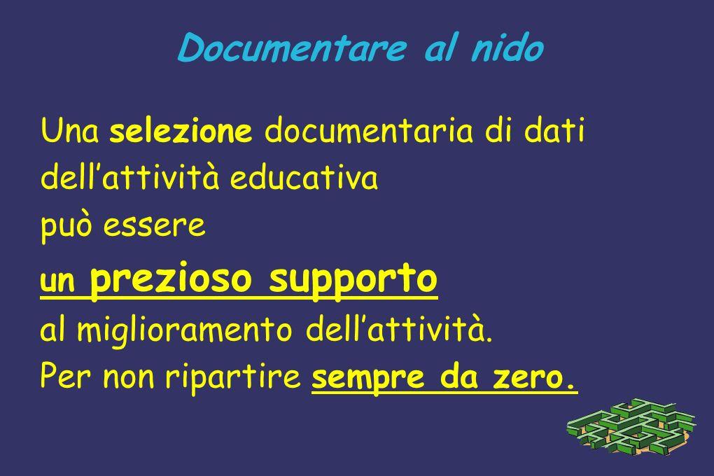 Documentare al nido Una selezione documentaria di dati dellattività educativa può essere un prezioso supporto al miglioramento dellattività. Per non r