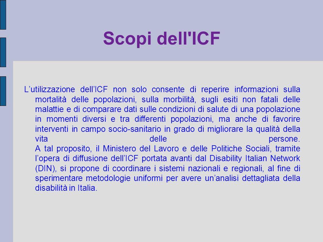 Scopi dell'ICF Lutilizzazione dellICF non solo consente di reperire informazioni sulla mortalità delle popolazioni, sulla morbilità, sugli esiti non f
