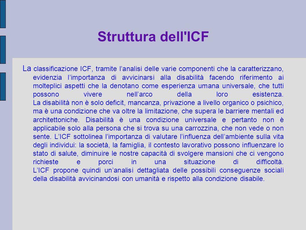 Struttura dell'ICF La classificazione ICF, tramite lanalisi delle varie componenti che la caratterizzano, evidenzia limportanza di avvicinarsi alla di