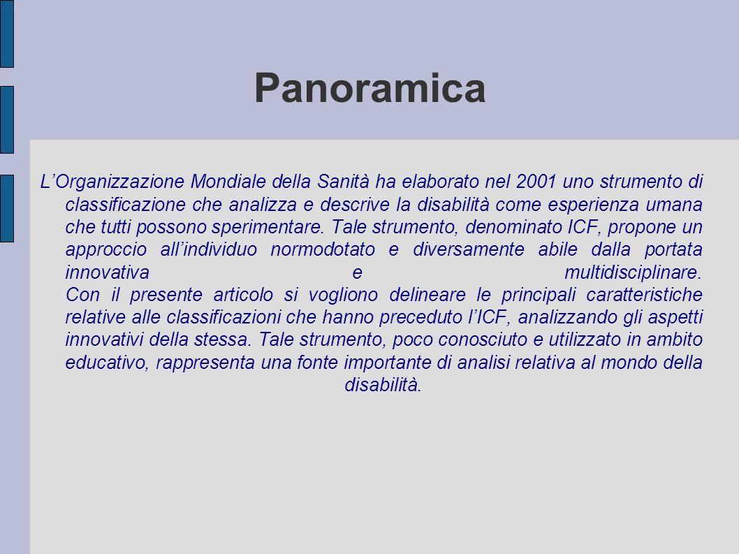 Panoramica LOrganizzazione Mondiale della Sanità ha elaborato nel 2001 uno strumento di classificazione che analizza e descrive la disabilità come esperienza umana che tutti possono sperimentare.