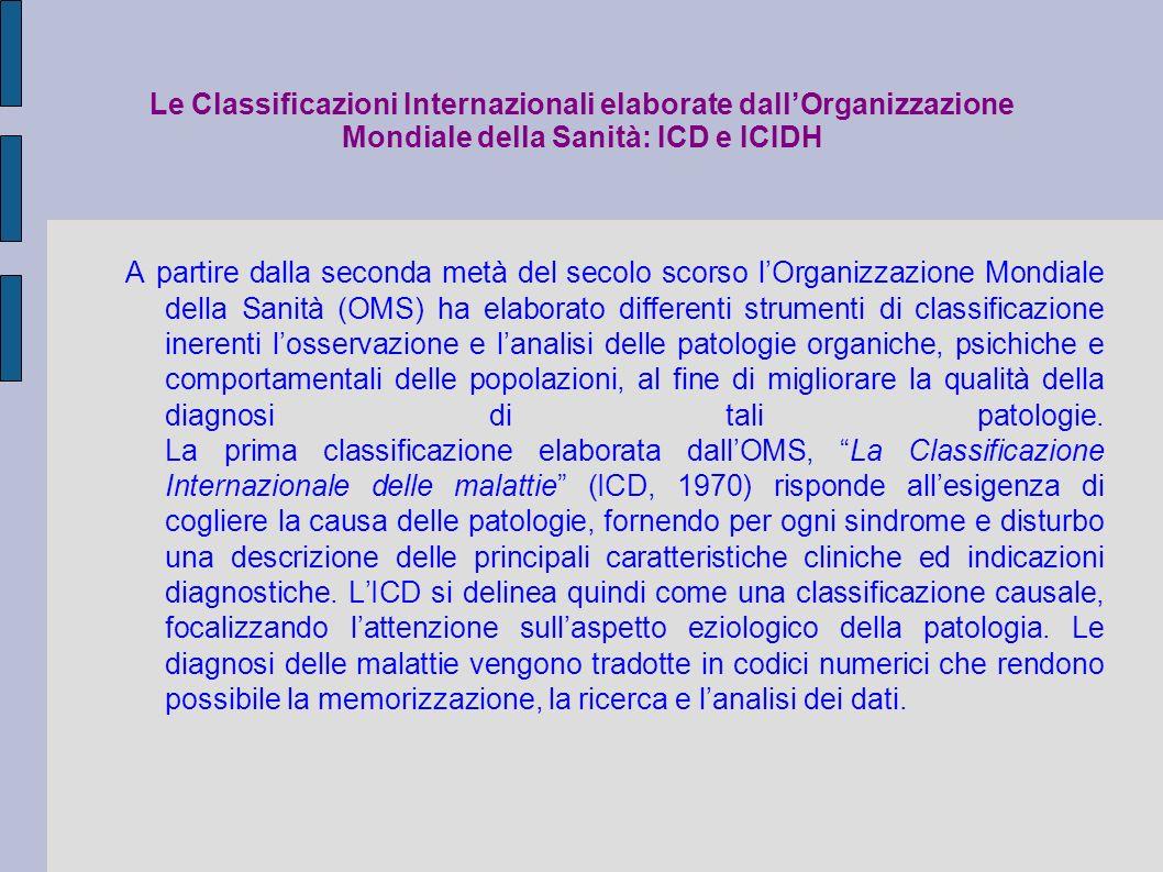 Attuale situazione La presenza di limiti concettuali insiti nella classificazione ICIDH ha portato lOMS ad elaborare unulteriore strumento, La Classificazione Internazionale del funzionamento e delle disabilità (ICIDH-2, 1999), che rappresenta lembrione del modello concettuale che sarà sviluppato nellultima classificazione dellOrganizzazione Mondiale della Sanità: La Classificazione Internazionale del funzionamento,disabilità e salute (ICF, 2001).