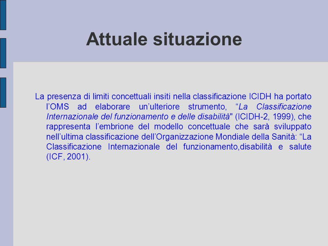 Attuale situazione La presenza di limiti concettuali insiti nella classificazione ICIDH ha portato lOMS ad elaborare unulteriore strumento, La Classif