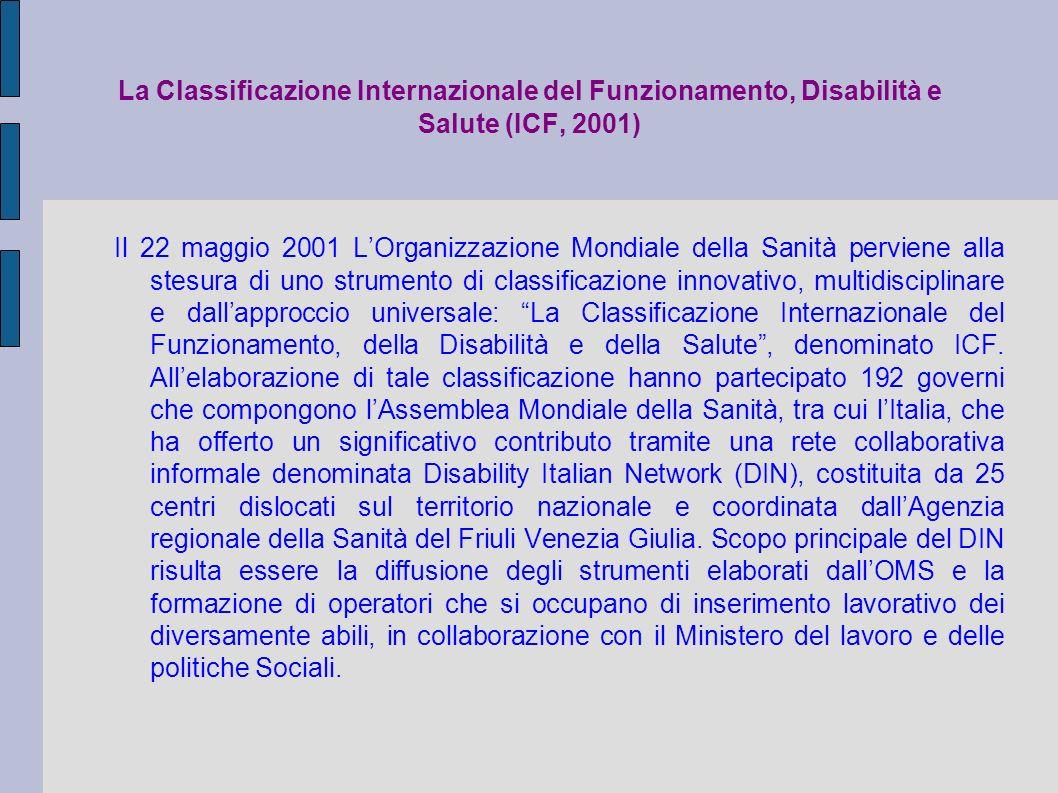 La Classificazione Internazionale del Funzionamento, Disabilità e Salute (ICF, 2001) Il 22 maggio 2001 LOrganizzazione Mondiale della Sanità perviene alla stesura di uno strumento di classificazione innovativo, multidisciplinare e dallapproccio universale: La Classificazione Internazionale del Funzionamento, della Disabilità e della Salute, denominato ICF.
