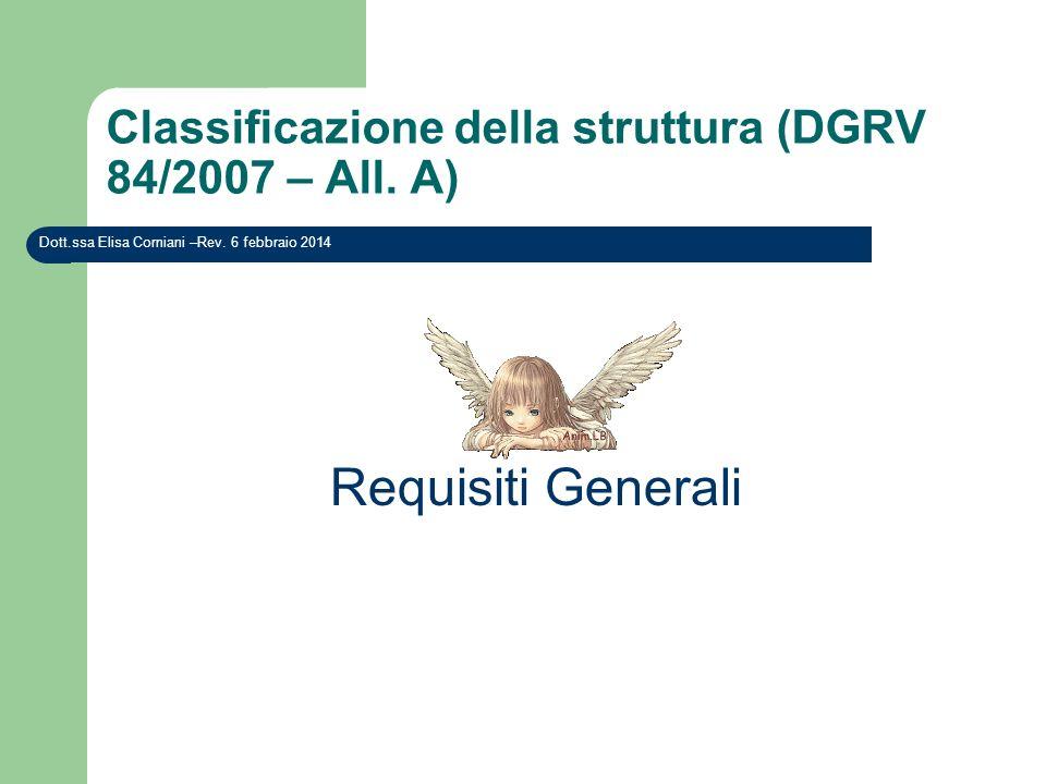 Classificazione della struttura (DGRV 84/2007 – All. A) Requisiti Generali Dott.ssa Elisa Corniani –Rev. 6 febbraio 2014