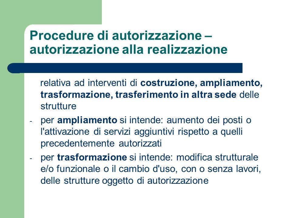 Procedure di autorizzazione – autorizzazione alla realizzazione relativa ad interventi di costruzione, ampliamento, trasformazione, trasferimento in a