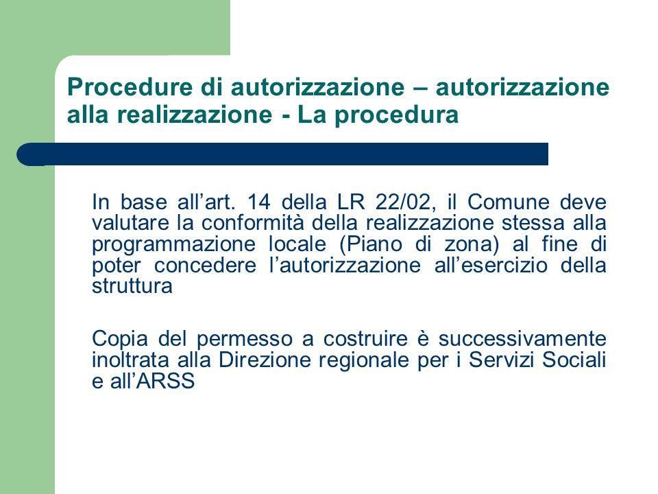 Procedure di autorizzazione – autorizzazione alla realizzazione - La procedura In base allart. 14 della LR 22/02, il Comune deve valutare la conformit
