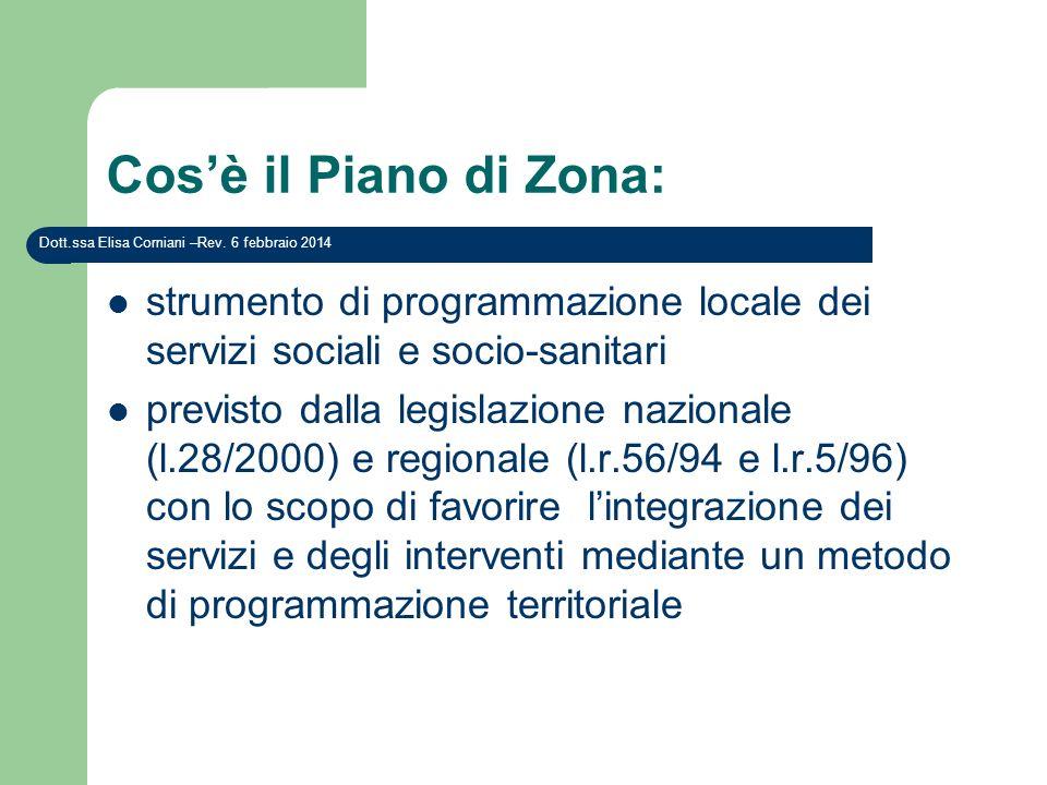 Cosè il Piano di Zona: strumento di programmazione locale dei servizi sociali e socio-sanitari previsto dalla legislazione nazionale (l.28/2000) e reg