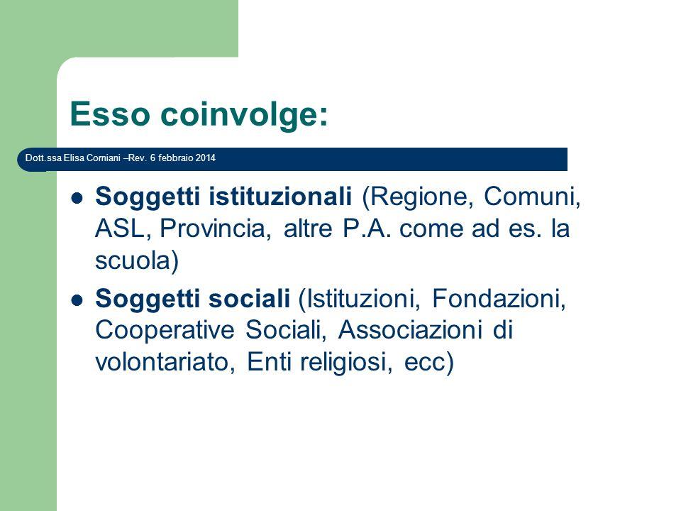 Esso coinvolge: Soggetti istituzionali (Regione, Comuni, ASL, Provincia, altre P.A. come ad es. la scuola) Soggetti sociali (Istituzioni, Fondazioni,