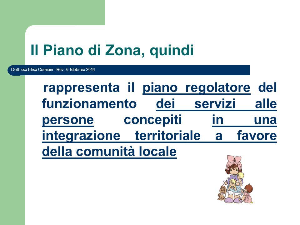 Il Piano di Zona, quindi rappresenta il piano regolatore del funzionamento dei servizi alle persone concepiti in una integrazione territoriale a favor