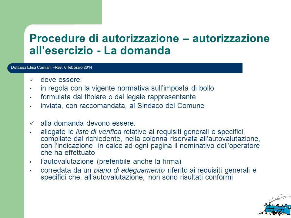 Procedure di autorizzazione – autorizzazione allesercizio - La domanda deve essere: in regola con la vigente normativa sullimposta di bollo formulata