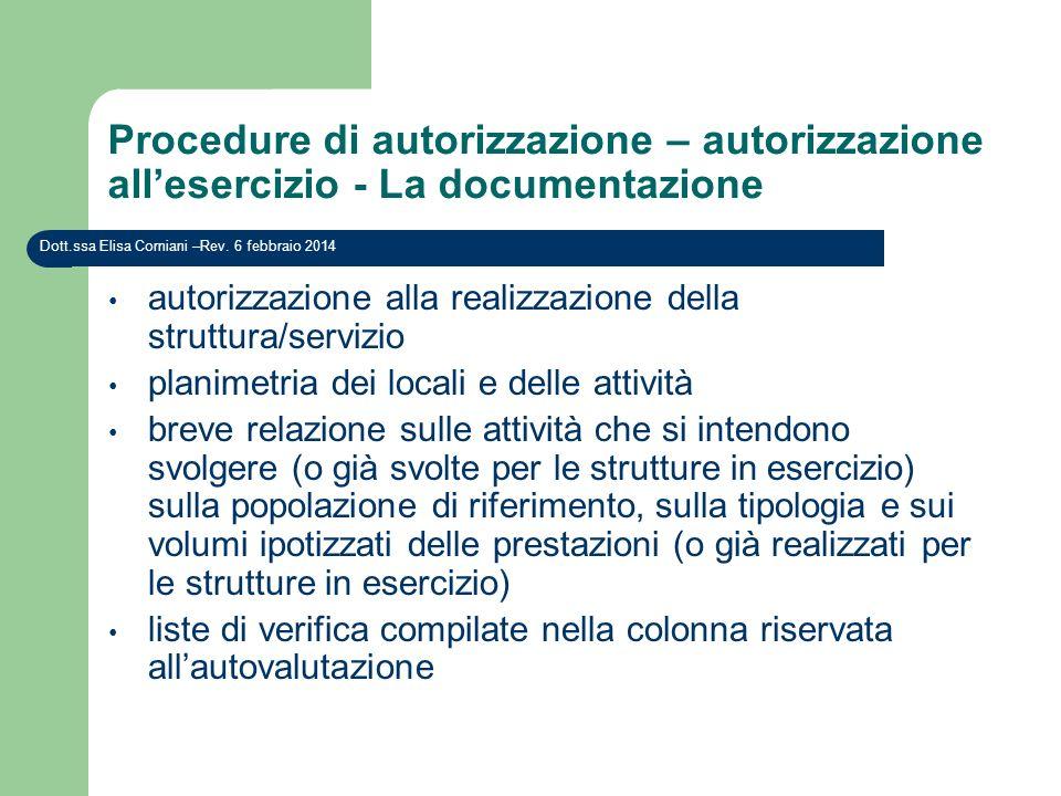 Procedure di autorizzazione – autorizzazione allesercizio - La documentazione Dott.ssa Elisa Corniani –Rev. 6 febbraio 2014 autorizzazione alla realiz