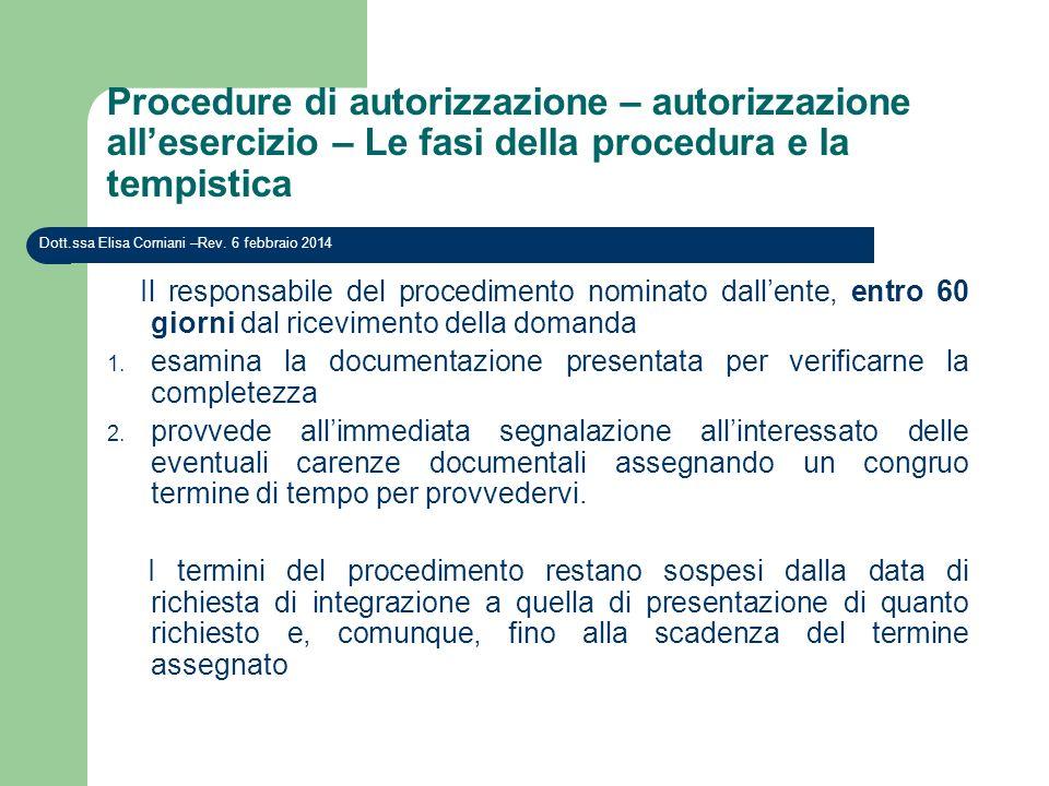 Procedure di autorizzazione – autorizzazione allesercizio – Le fasi della procedura e la tempistica Dott.ssa Elisa Corniani –Rev. 6 febbraio 2014 Il r