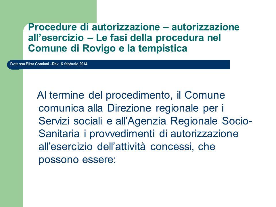 Procedure di autorizzazione – autorizzazione allesercizio – Le fasi della procedura nel Comune di Rovigo e la tempistica Dott.ssa Elisa Corniani –Rev.