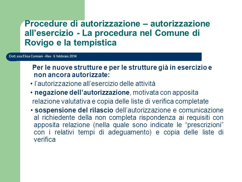 Procedure di autorizzazione – autorizzazione allesercizio - La procedura nel Comune di Rovigo e la tempistica Dott.ssa Elisa Corniani –Rev. 6 febbraio