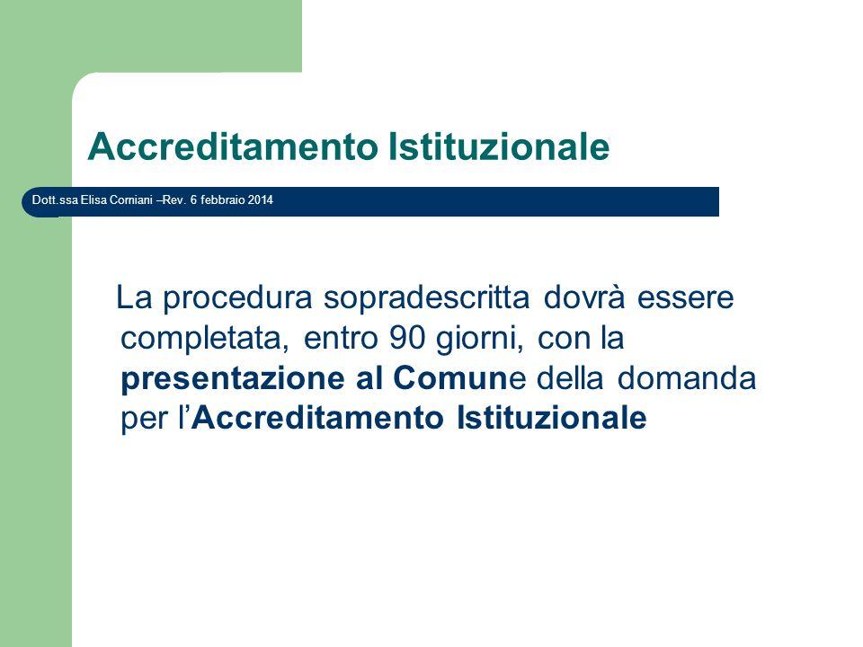 Accreditamento Istituzionale La procedura sopradescritta dovrà essere completata, entro 90 giorni, con la presentazione al Comune della domanda per lA