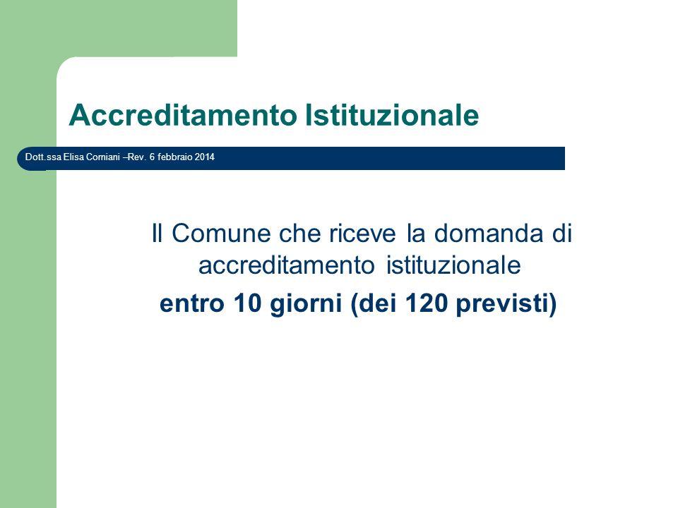 Accreditamento Istituzionale Il Comune che riceve la domanda di accreditamento istituzionale entro 10 giorni (dei 120 previsti) Dott.ssa Elisa Cornian
