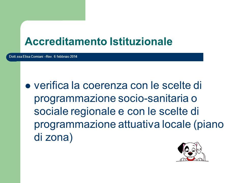 Accreditamento Istituzionale verifica la coerenza con le scelte di programmazione socio-sanitaria o sociale regionale e con le scelte di programmazion