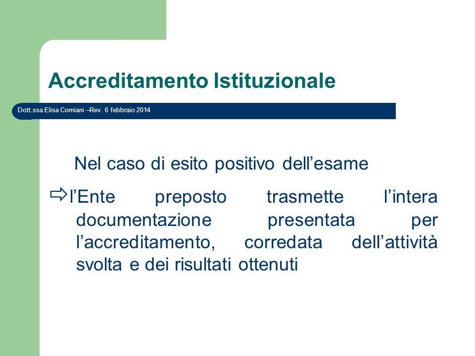 Accreditamento Istituzionale Nel caso di esito positivo dellesame lEnte preposto trasmette lintera documentazione presentata per laccreditamento, corr