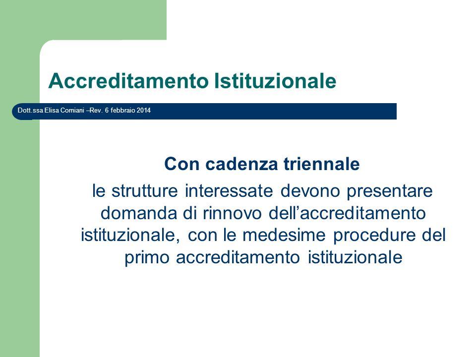 Accreditamento Istituzionale Con cadenza triennale le strutture interessate devono presentare domanda di rinnovo dellaccreditamento istituzionale, con